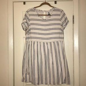 Old Navy White & Navy Striped Dress